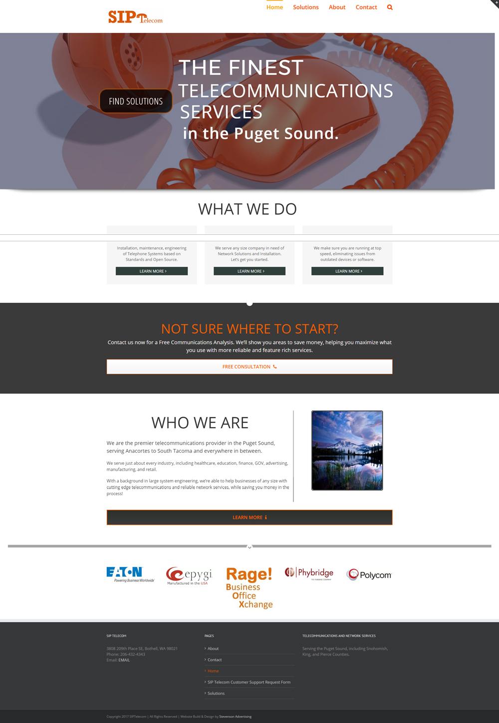 Siptelecom website build design seattle stevenson for Building design website